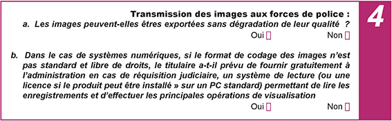 transmission images forces police questionnaire conformité